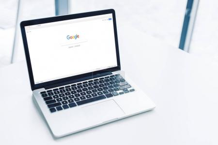 laptop with google website