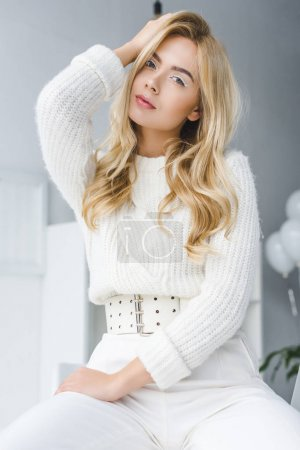 Photo for Attractive fashionable elegant woman posing in white clothes - Royalty Free Image