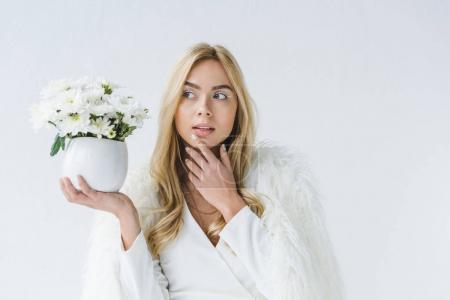 woman with white flowers