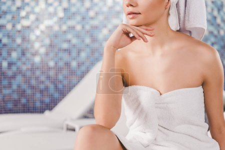 Photo for Cropped shot of beautiful young woman in towel at spa - Royalty Free Image