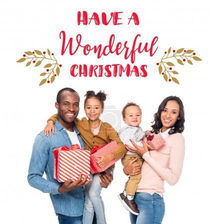 happy african american family with christmas gifts