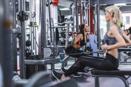 young sportive women working out at gym