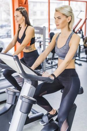 young sportive women working out on elliptical machines at gym