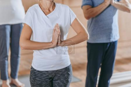 cropped shot of mature people with namaste sign practicing yoga together