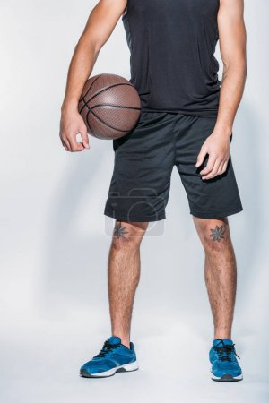 cropped image of basketball player standing with ball