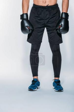 Cropped image of boxer in sport shorts and gloves