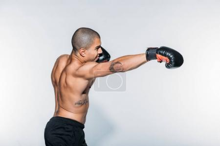 african american sportsman boxing on white