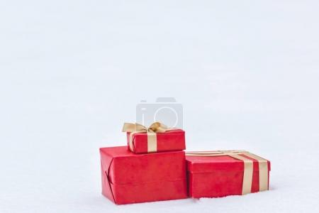 Photo for Close up view of wrapped gift boxes isolated on white - Royalty Free Image
