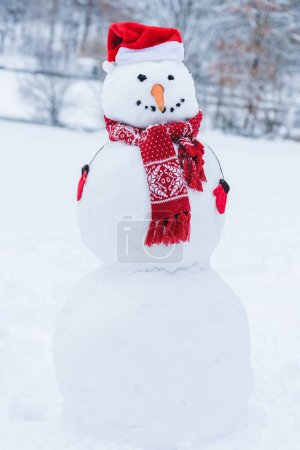Photo for Close up view of snowman in santa hat, scarf and mittens i winter park - Royalty Free Image