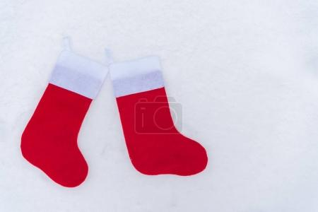 close-up view of red christmas socks isolated on white