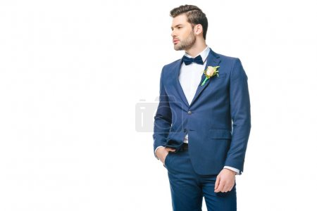 Photo for Portrait of young handsome groom in suit isolated on white - Royalty Free Image