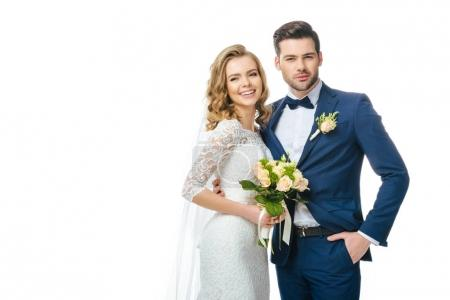 Photo for Portrait of smiling bride with wedding bouquet and groom isolated on white - Royalty Free Image