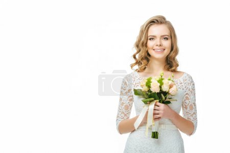portrait of young bride with wedding bouquet in hands isolated on white