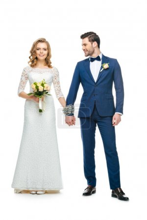 chained wedding couple holding hands isolated on white