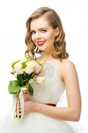 portrait of beautiful cheerful bride with wedding bouquet isolated on white