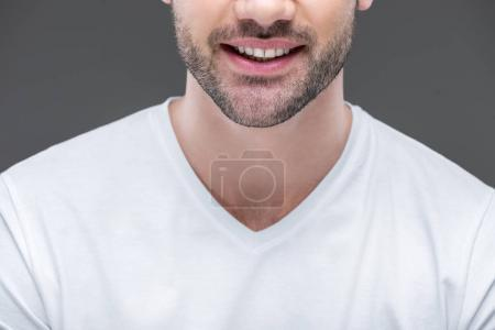 cropped view of smiling bearded man, isolated on grey