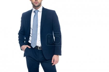 Photo for Cropped view of elegant businessman posing in suit, isolated on white - Royalty Free Image
