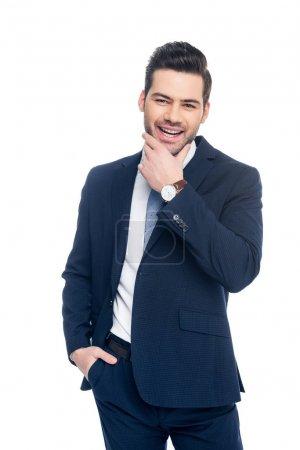 Photo pour Bel homme d'affaires gai en costume, isolé sur blanc - image libre de droit
