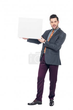 Photo for Bearded businessman in suit holding blank placard, isolated on white - Royalty Free Image