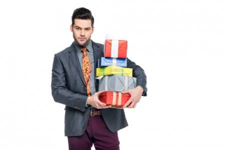 Photo for Bearded man holding gift boxes, isolated on white - Royalty Free Image