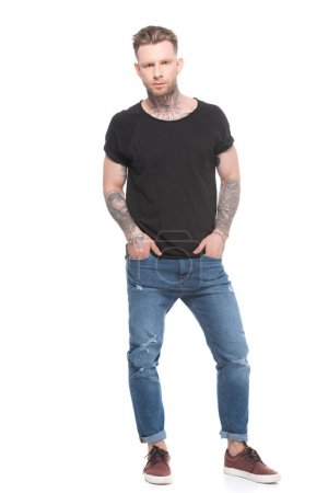 tattooed man in casual clothes, isolated on white