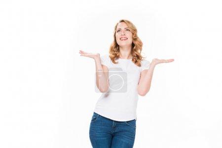 Photo pour Portrait de heureuse femme caucasienne isolé sur blanc - image libre de droit