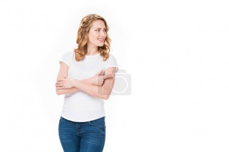 Photo for Portrait of attractive caucasian woman pointing away isolated on white - Royalty Free Image
