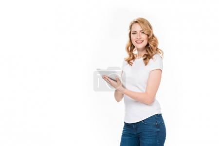 Photo for Portrait of smiling woman with digital tablet isolated on white - Royalty Free Image