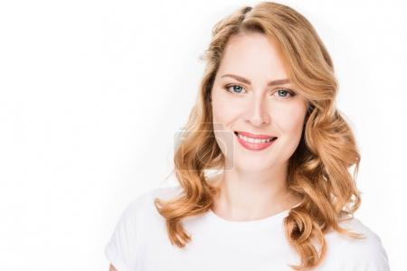 portrait of smiling caucasian woman isolated on white