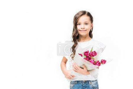 Photo for Portrait of cute smiling child with bouquet of flowers in hands isolated on white, mothers day concept - Royalty Free Image