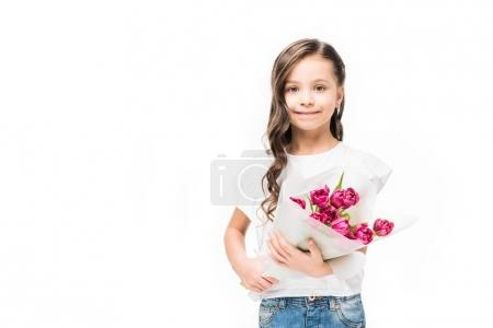 portrait of cute smiling child with bouquet of flowers in hands isolated on white, mothers day concept