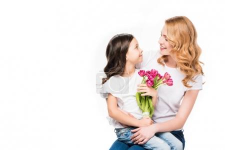 Photo for Happy mother and little daughter with bouquet of flowers isolated on white, mothers day holiday concept - Royalty Free Image
