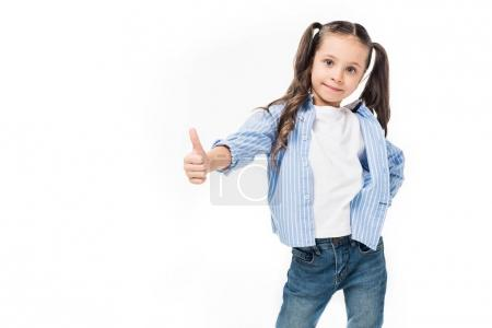 Photo for Portrait of cute child showing thumb up isolated on white - Royalty Free Image