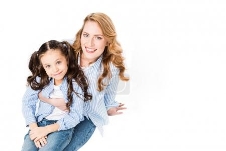 high angle view of cheerful woman and daughter isolated on white