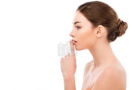 Photo pour Belle jeune femme avec signe de silence, isolée sur blanc - image libre de droit