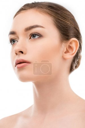 portrait of beautiful girl with clean skin, isolated on white