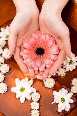 Photo pour Recadrée vue de femme faisant des procédure de spa avec des fleurs dans un salon de beauté, concept de soins des ongles - image libre de droit