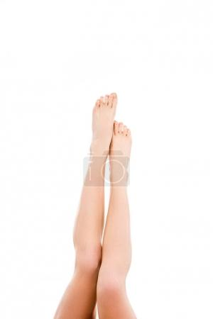 Photo for Cropped view of woman with barefoot legs, isolated on white - Royalty Free Image