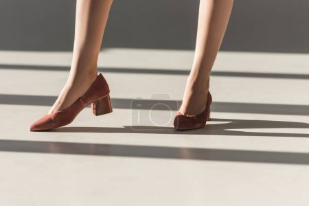 low section of fashionable girl posing in red shoes