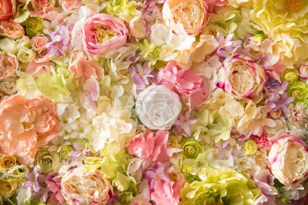 close-up view of beautiful floral background with tender elegant flowers