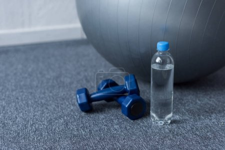 close up of fit ball, dumbbells and bottle of water