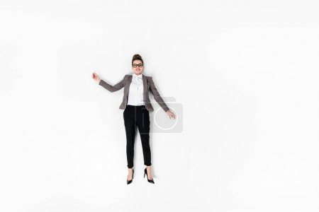 top view of attractive young businesswoman isolated on white
