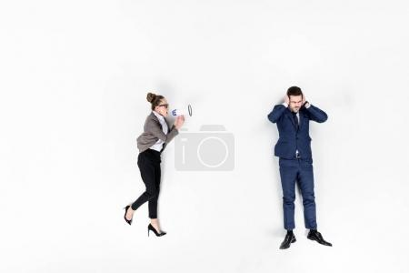 top view of lady boss shouting at manager with loudspeaker isolated on white