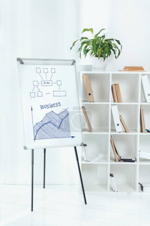 whiteboard with business plan graph and wooden shelves with folders in office