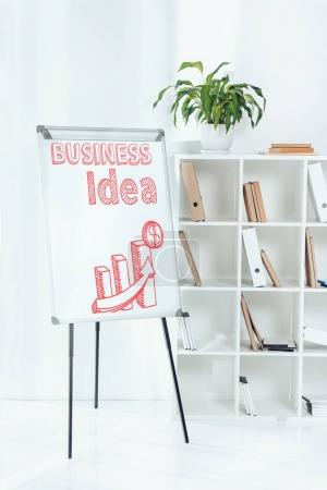 whiteboard with business idea chart and wooden shelves with folders in office