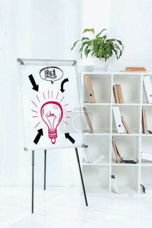 whiteboard with idea symbols and wooden shelves with folders in office