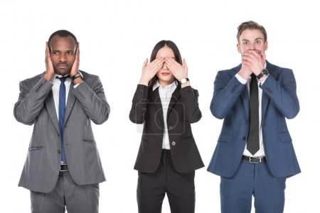 portrait of multicultural young business people covering parts of faces isolated on white