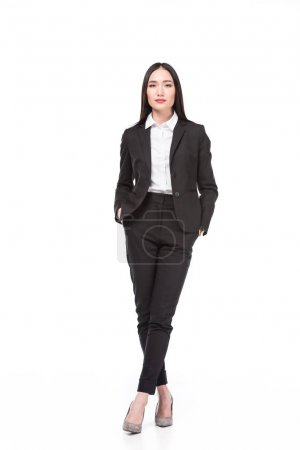 beautiful asian businesswoman in suit isolated on white