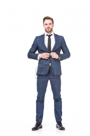 Photo for Confident caucasian businessman in suit isolated on white - Royalty Free Image