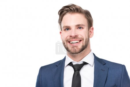 Photo for Portrait of cheerful caucasian businessman in suit isolated on white - Royalty Free Image